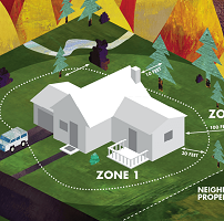 Cartoon image of a home with defensible space